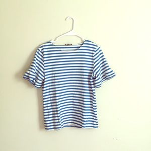 J.Crew Boatneck Bell-sleeve Top Blue+Cream Size M